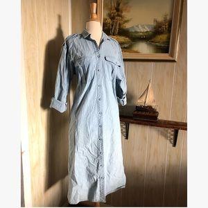 90's Chambray Shirt Dress